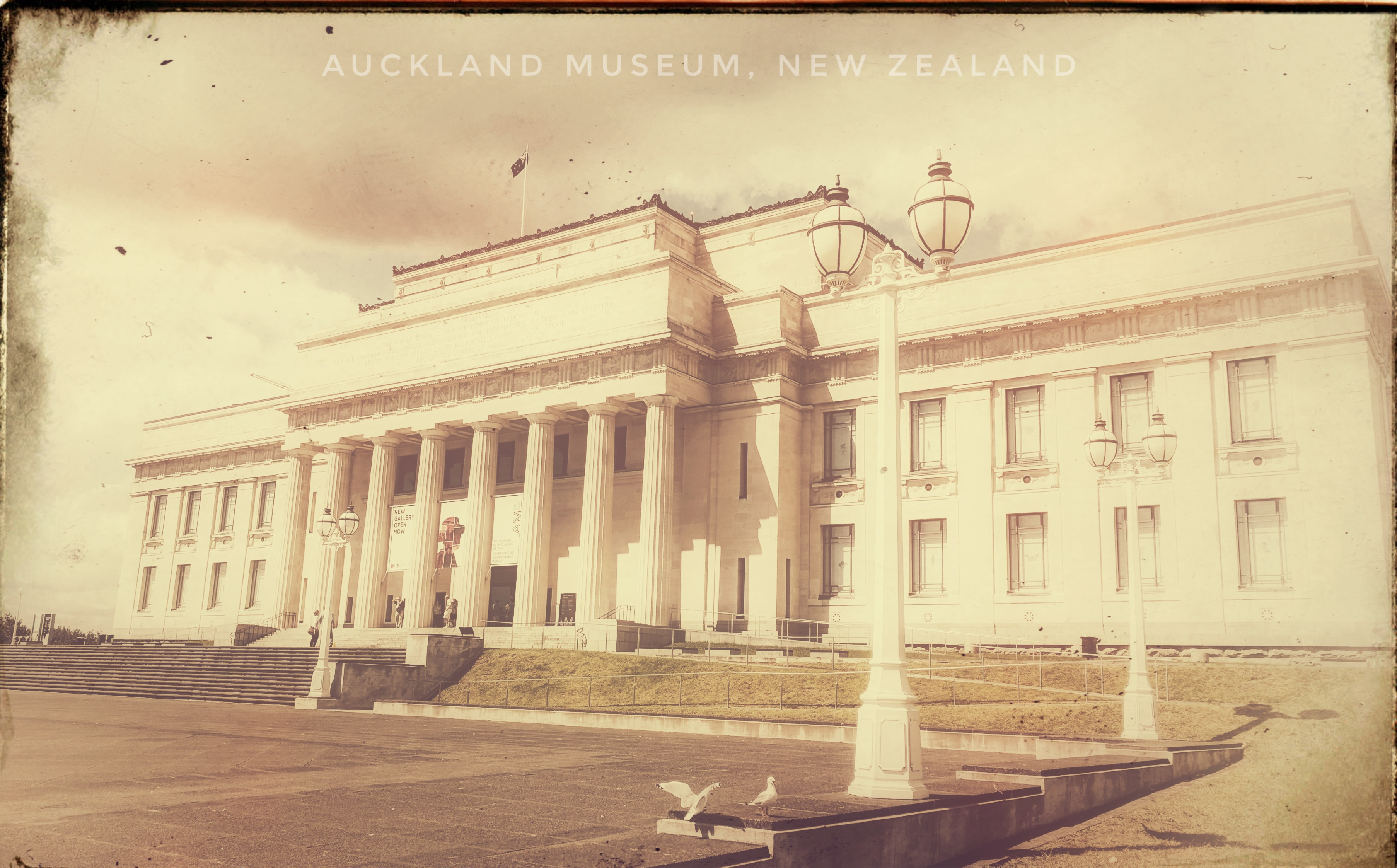 Photo of Auckland Museum edited to look like an old postcard