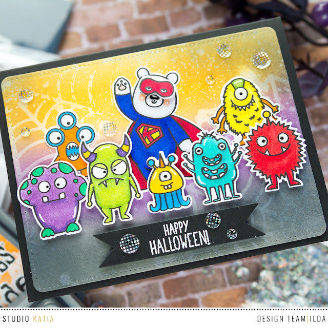 Super Kobi and the Monster Gang Halloween Scene Card by ilovedoingallthingscrafty.com