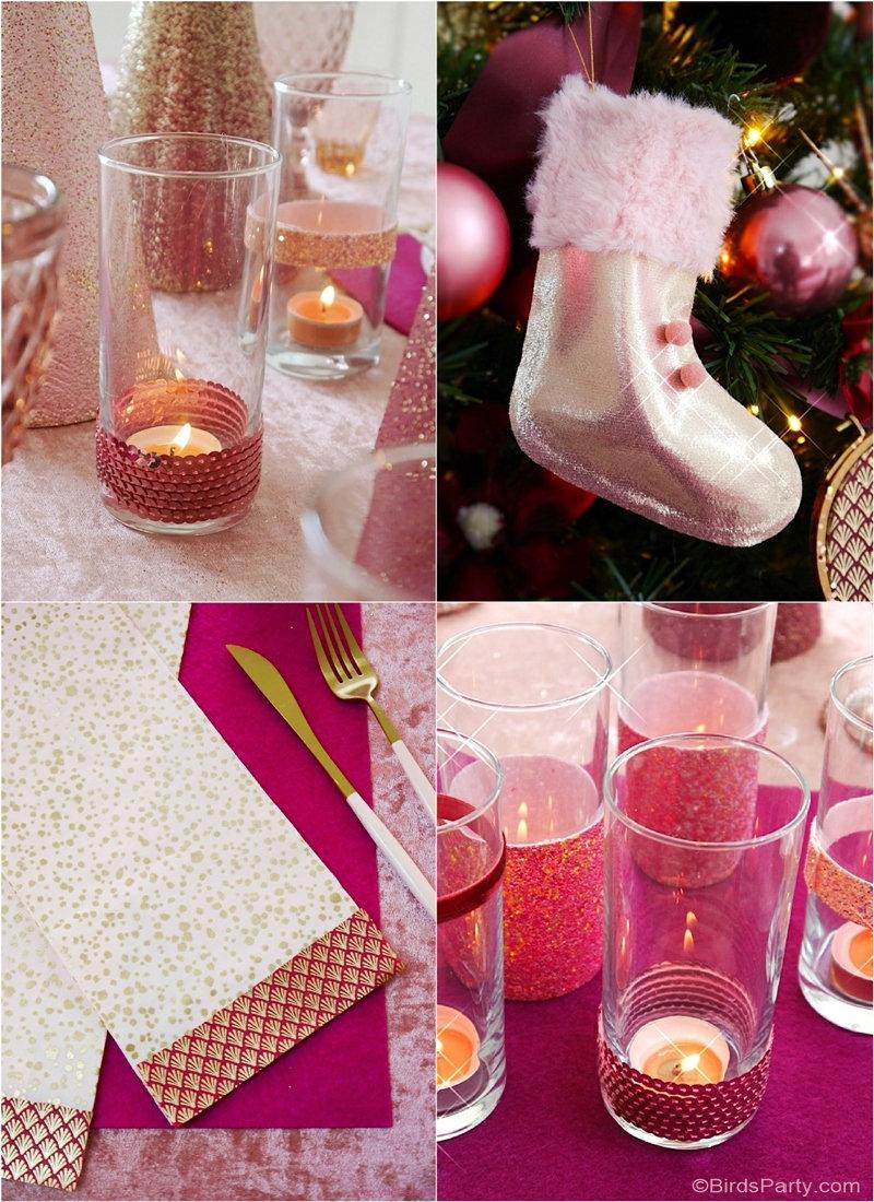 Table de Noël Pink So Chic + Imprimables GRATUITS - idées de projets de décoration de table et de bricolage pour les fêtes! by BirdsParty.com @birdsparty #noel #decordetable #tabledenoel #noelrose #decorationsdetable #noelsochic #decodenoel #decor #table #artdelatable