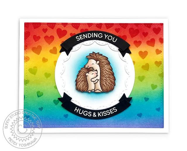 Heffy Doodle & Sunny Studio Collaboration Blog Hop: Quill You Be Mine Hugs & Kisses Rainbow Cascading Hearts Card by Mendi Yoshikawa