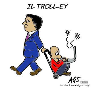 troll, trolley, bob, blog, pd, renzi, vignetta, satira