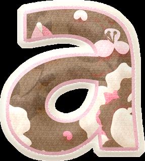 Alfabeto con Flores en Fondo Marrón y Orilla Rosa.