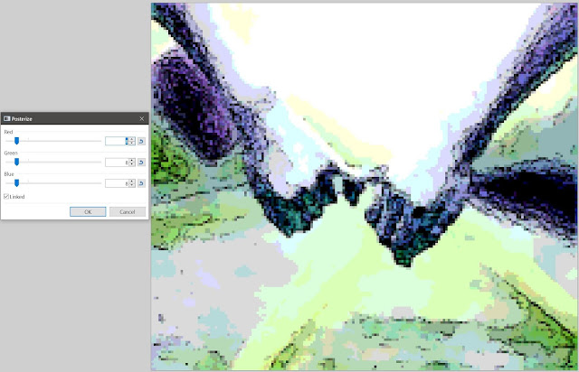 posterize thresholds of 8 colors per channel do not significantly affect the predominately green/purple Painting Render
