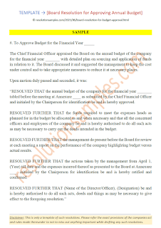 board resolution for approval of annual budget
