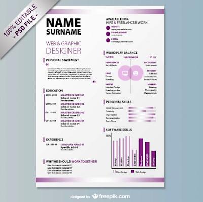 Contoh CV template PSD yang ketiga adalah CV Template