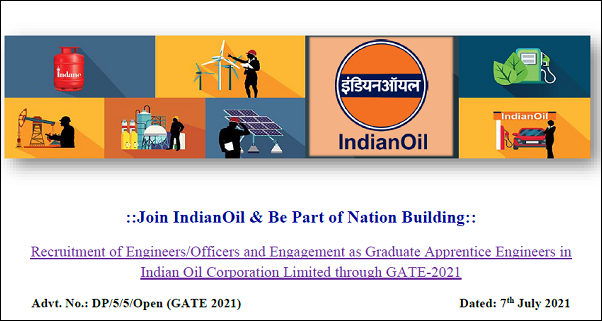 Indian Oil Corporation Limited Recruitment Through GATE 2021