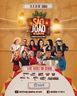 Em Sapé dias 25 de Junho:   Onze atrações locais participam de live 'Vozes da Terra' no São João 2021