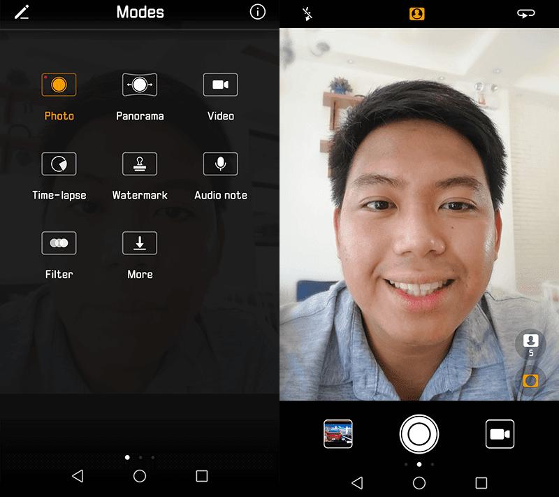 Selfie camera modes