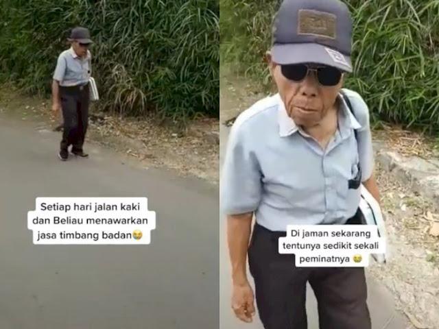 Hidup Sebatang Kara, Kakek Ini Tiap Hari Jalan Belasan Km Tawarkan Jasa Timbang Badan
