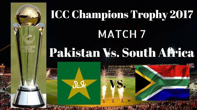Pak Vs. SA, Pakistan Vs. South Africa, 7th Match Live Streaming ICC Champions Trophy 2017