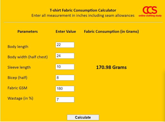 T-shirt fabric consumption calculation