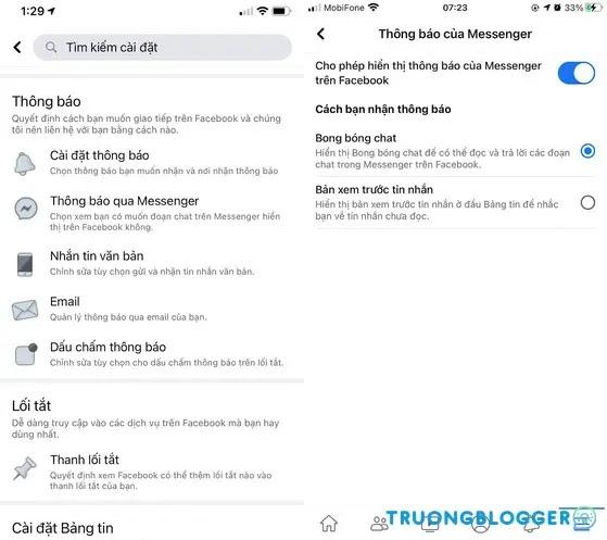 Cách bật bong bóng chat Messenger trên iPhone 2021
