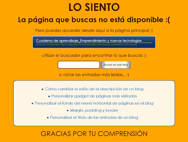Mensaje personalizado 404