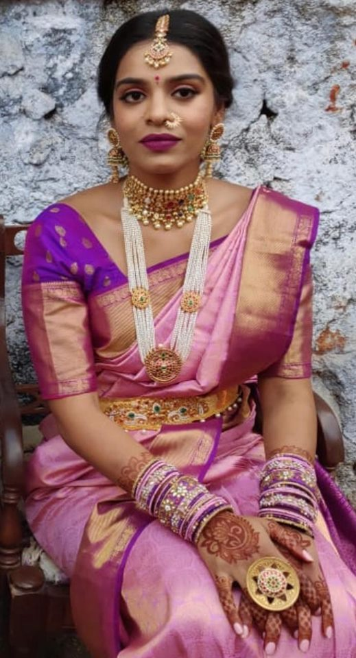 Bride in Pearls Kundan Haram Large Jhumkas