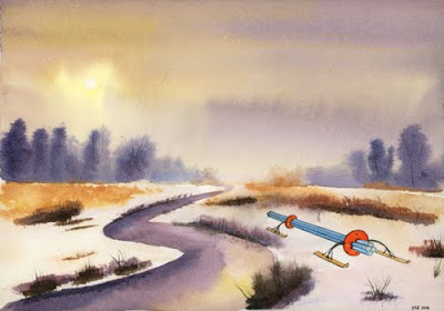 Painting: Sun breaking through the mist #4, Luigi left a sledge