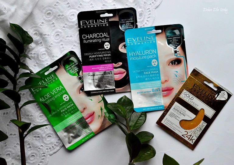 """Koreańskie """" maski natkaninie i Złote płatki pod oczyEveline Cosmetics recenzja"""