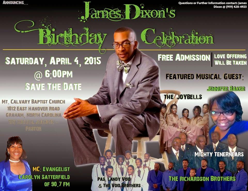 James Dixon to celebrate birthday with musical - April 4 - GOSPEL