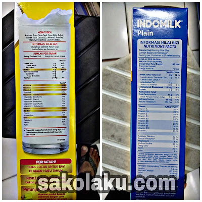 Perbandingan Informasi Nilai Gizi Susu Dancow Fortigro Enriched Full Cream dan Susu Indomilk Full Cream Plain