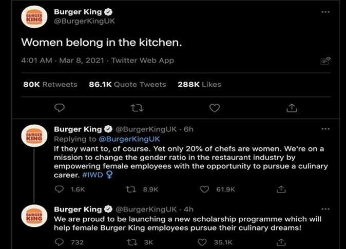 """In International Women's Day ... """"Burger King"""" apologizes after tweeting """"women belong in the kitchen"""""""