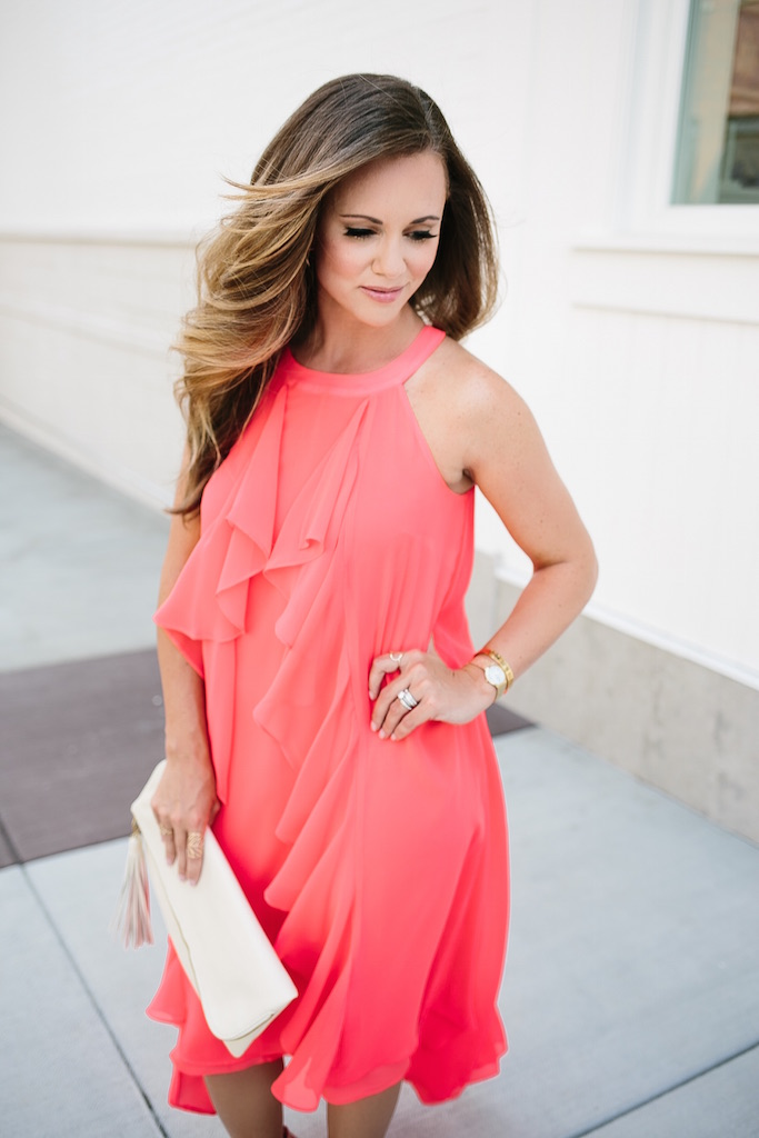 KBStyled: Jennifer Lopez for Kohl's coral dress halter dress