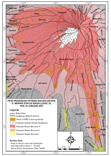 Peta Prakiraan Potensi Bahaya Erupsi Gunung Merapi Per 15 Januari 2021