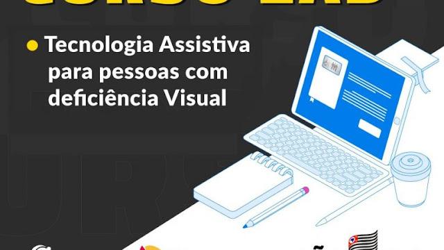A imagem mostra um fundo preto com uma mesa e um computador brancos. Ao lado o texto: Tecnologia Assistiva para pessoas com deficiência visual