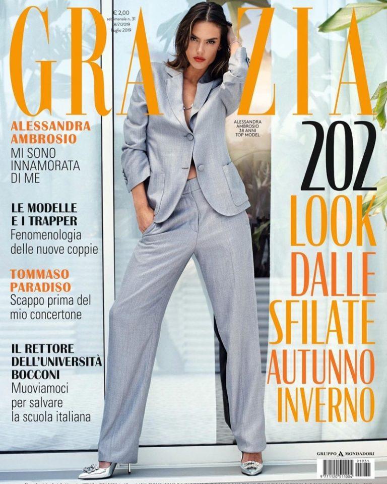 Alessandra Ambrosio Poses in Elegant Styles for Grazia Italy