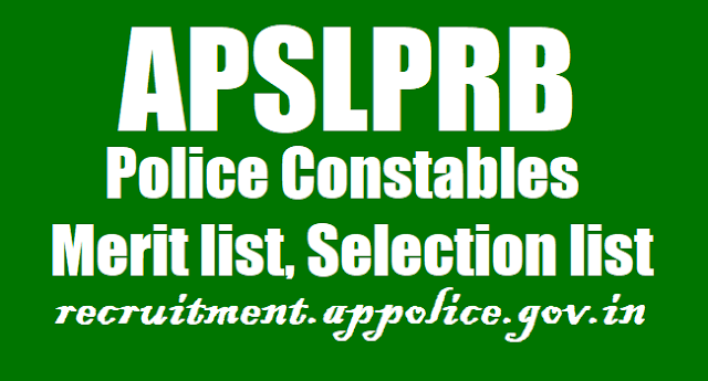 AP Police Constables Merit list, Selection list Results