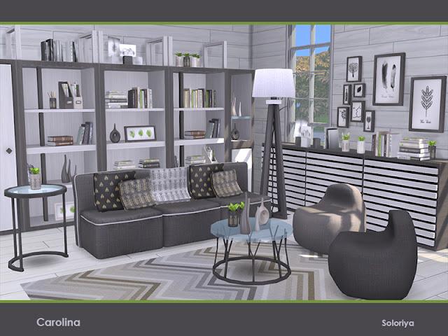 Carolina для The Sims 4 Набор для ваших гостиных. Включает 15 объектов, имеет черно-белую палитру. Предметы в наборе: - диван - кресло - тумбочка - кофейный столик - два вида подушек - место хранения - книжный шкаф - два вида шкафов - буфет - торшер - два вида картин - коврик Автор: soloriya