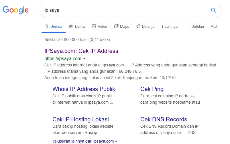 Beberapa Cara Mengetahui IP Address Komputer