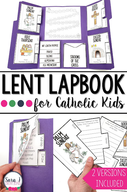 Help your students to have an organized, focused, and intentional Lent by creating your own Catholic Lent Lapbook. Using the Bible, students will learn about the events of Holy Week. They will also focus on prayer, fasting, and almsgiving for kids. Stations of the Cross mini cards will be helpful as they pray this devotion. Read more and see this beautiful resource up close.