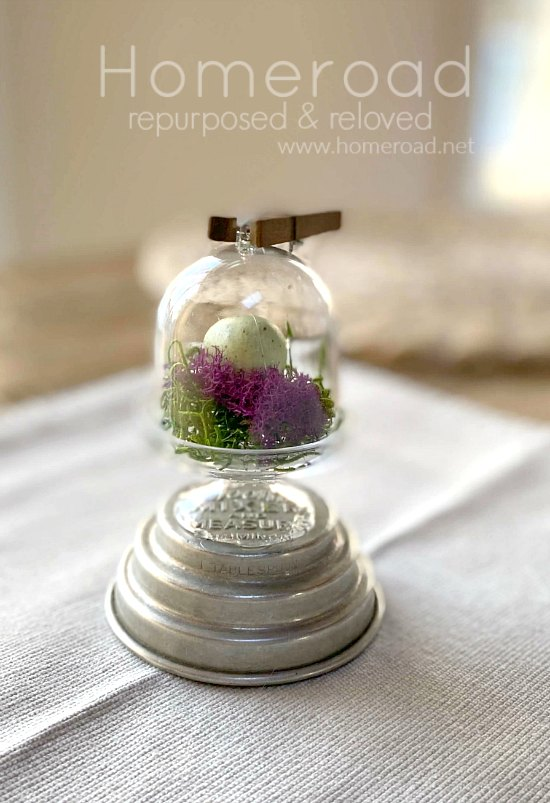 Repurposed Mini Birds Nest Cloche for Spring