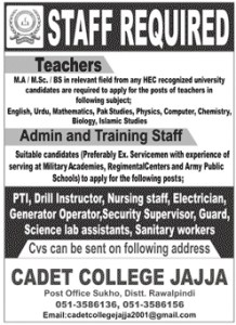 Pakistan Army  Cadet College  Rawalpindi Jobs 2021 – Teaching & Non-Teaching Staff