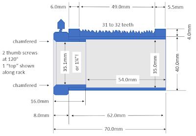 drawtube dimensions