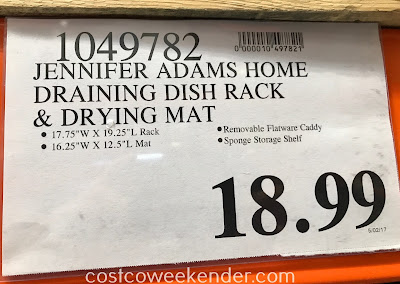Deal for the Jennifer Adams Home Self Draining Dish Rack & Drying Mat at Costco