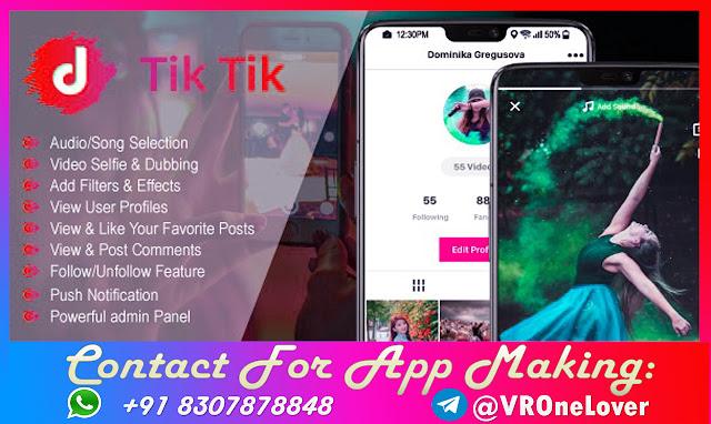 TikTik - Android Social Media App for Making and Sharing Short Videos