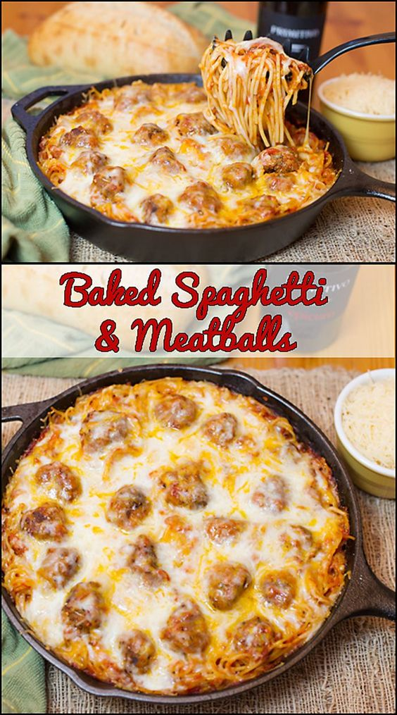 Spaghetti & Meatballs is a perfect family friendly meal. Baked Spaghetti & Meatballs is cooked in one pan, topped with lots of cheese, and baked until hot, bubbly, and melted ooey gooey! Baked Spaghetti