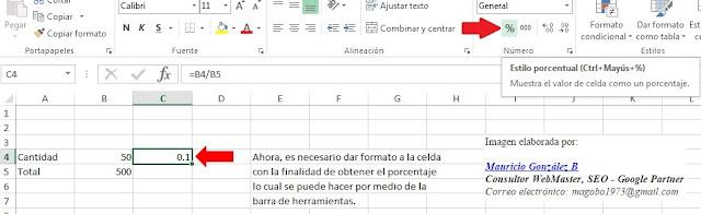 Como obtener porcentajes en Excel