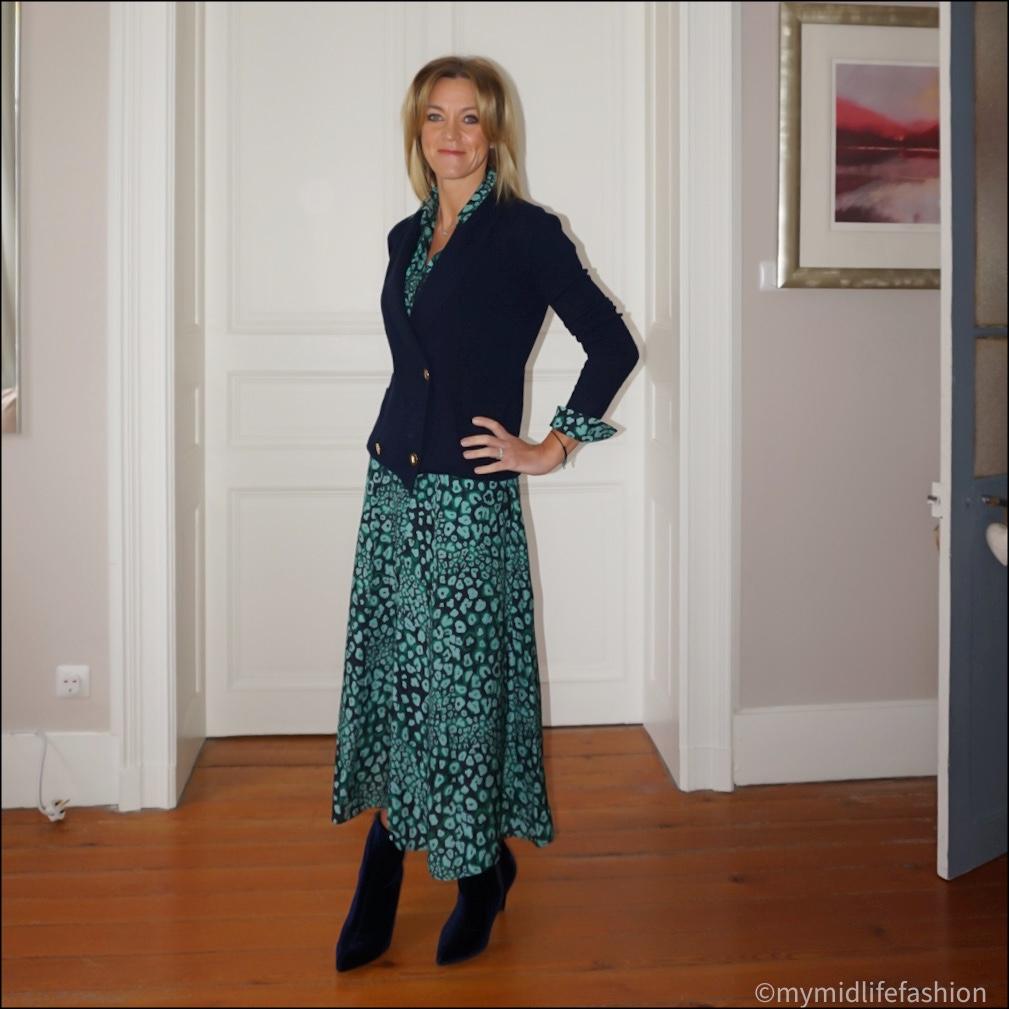 my midlife fashion, cefinn Astrid raglan  long sleeve maxi skirt dress, Ralph Lauren shawl cardigan, marks and Spencer velvet stiletto heel ankle boots