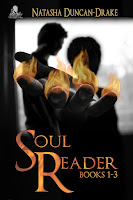 """Two men in silouhette, one reached out a hand covered in fire with the title """"Soul Reader Books 1-3"""" over the top"""