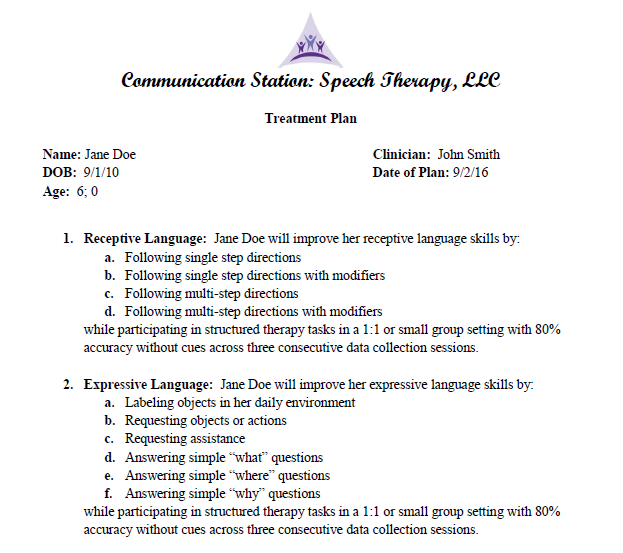 Communication Station: Speech Therapy PLLC: September 2016