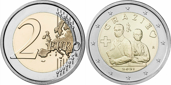 Italy 2 euro 2021 - Gratitude to health and sanitary workers