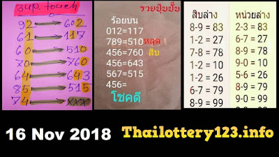 Thailand lottery 4pc magazine Papers for 16 November 2018