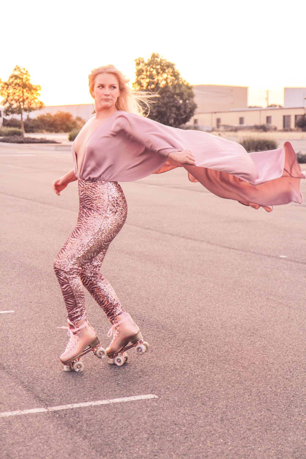 Liana of @findingfemme in Impala Marawa rose gold rollerskates