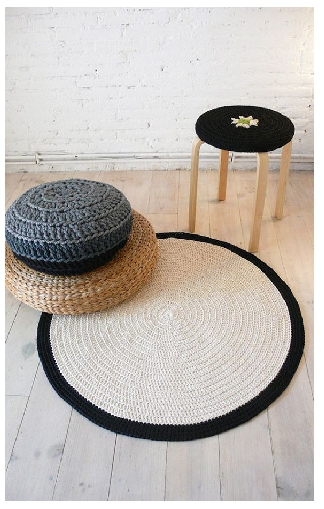 Knitted Pouf and Ottoman floor chusion from bean bag sofa coffe table ideas from crochet pouf minimalist 1