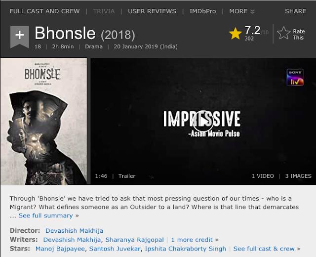 Download Bhonsle (2020) Hindi Movie (SonyLiv Original) 480p | 720p WEB-DL 300MB | 900MB