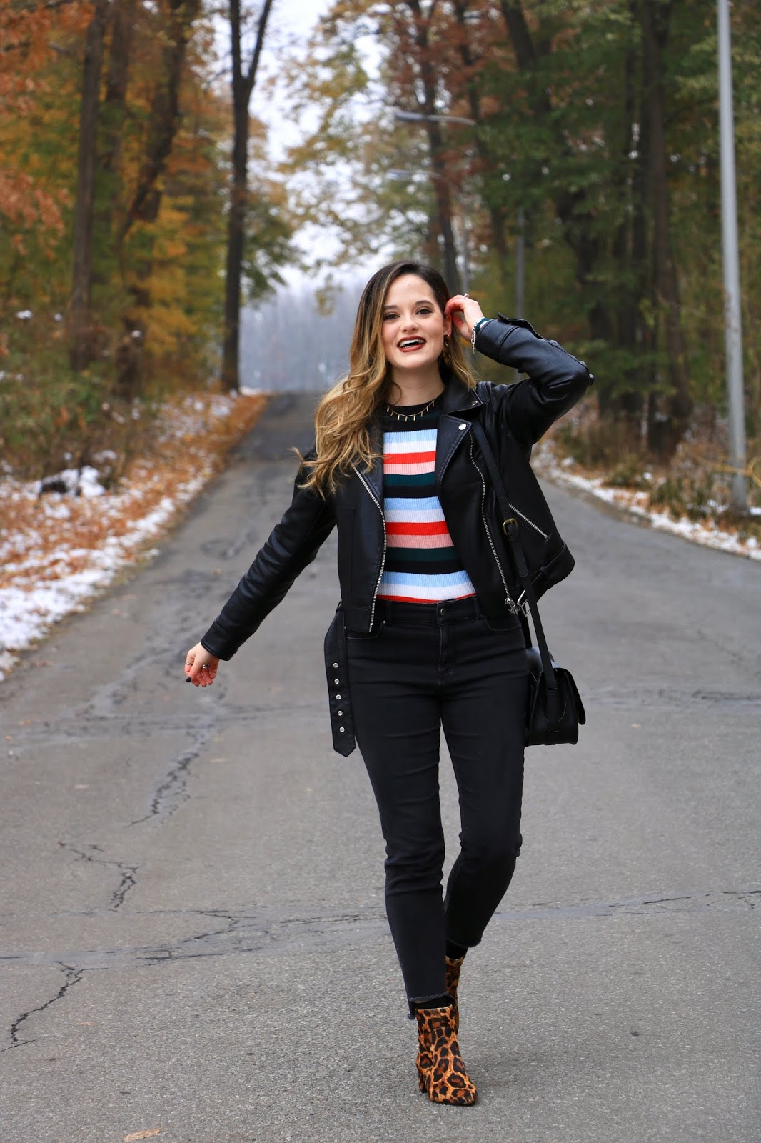 Nyc fashion blogger Kathleen Harper wearing a winter outfit at Notre Dame University.