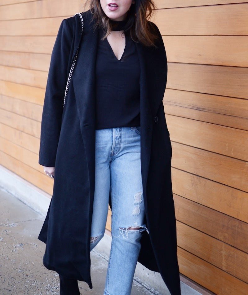 Le Chateau wool robe coat levi's 501 CT vancouver fashion blogger winter outfit idea gucci dionysus bag