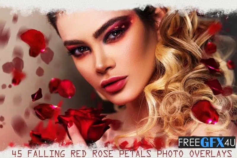 45 Falling Rose Petals Photo Overlays PNG Pack