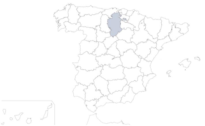 Provincia de Burgos en mapa de España